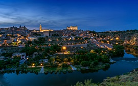 Preview wallpaper Spain, Toledo, architecture, city, night, river, trees, lights