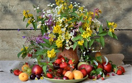 Aperçu fond d'écran Nature morte, beaucoup de sort fruits, fleurs
