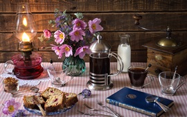 Preview wallpaper Still life, tea, bread, flowers, candles