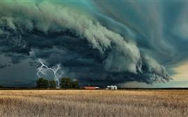 Tempête, tornade, éclair, nuages sombres, champ