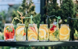 Preview wallpaper Summer fruit drinks, many kinds