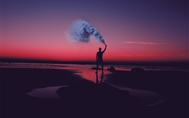 Preview wallpaper Sunset, shore, sea, man, smoke