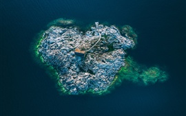 Sweden, island, hut, sea, top view