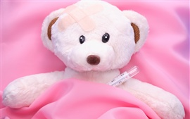 Preview wallpaper Teddy bear, sick, bed, toy