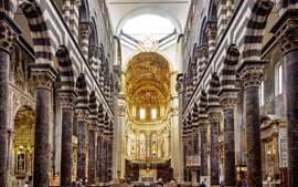 Preview wallpaper The Cathedral of San Lorenzo, Italy, nave, arch, bench