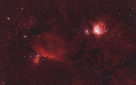 La nebulosa de Orión, estrellada, espacio, rojo