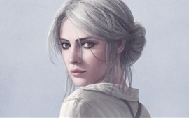 Preview wallpaper The Witcher 3: Wild Hunt, white hair girl look back