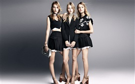 Three girls, fashion dress