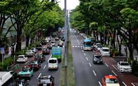 Preview wallpaper Tokyo, Japan, city, street, road, cars, trees