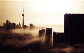Aperçu fond d'écran Toronto, Canada, ville, bâtiments, tour, crépuscule