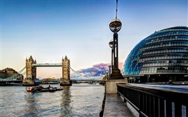 Preview wallpaper Tower Bridge, London, England, Thames, river, buildings