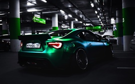 Preview wallpaper Toyota green supercar rear view, parking