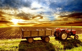 Preview wallpaper Tractor, fields, grass, sky, clouds, sunset