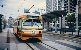 Preview wallpaper Tram, city, station