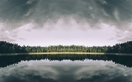 Preview wallpaper Trees, lake, water reflection, nature landscape