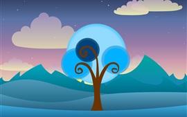 Векторное дерево, облака, небо