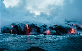 Volcano lava, sea, smoke, nature landscape