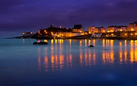 Preview wallpaper Wales, Tenby, bay, houses, boats, sea, night, lights