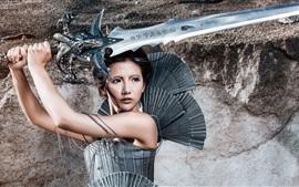 Warrior girl, Chinese, espada, retro