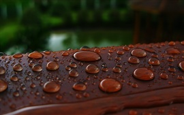 Preview wallpaper Water drops, wood surface