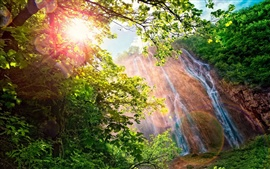 Preview wallpaper Waterfall, forest, trees, sunshine, glare, beautiful nature landscape
