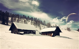 Preview wallpaper Wood houses, snow, trees, planets, dream world, creative design