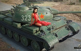 Preview wallpaper World of Tanks, Chinese girl, sexy