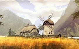 3D, diseño, campo, montañas, molino, casa