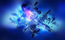3D graphic, blue, creative