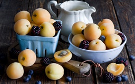 Apricots, blackberry, blueberries, fruits