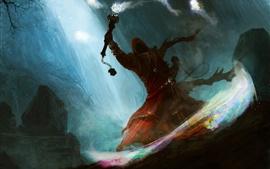 Preview wallpaper Art drawing, night, magic, monster