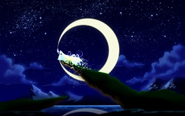 Aperçu fond d'écran Peinture d'art, princesse de lune