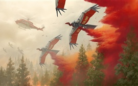 Preview wallpaper Art picture, helicopter, birds robot, fire