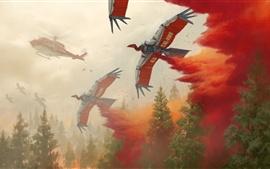 Cuadro de arte, helicóptero, aves robot, fuego