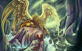 Art picture, monster, wings, sea