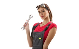 Preview wallpaper Asian girl, jumpsuit, glasses, key, mechanic