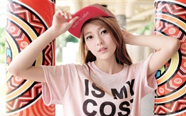 Preview wallpaper Asian girl, look, cap
