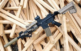 Preview wallpaper Assault rifle, wood