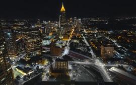 Атланта, США, ночь, дороги, здания, огни