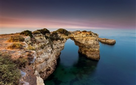 Preview wallpaper Atlantic Ocean, Praia de Albandeira, rocks, arch, Algarve, Portugal