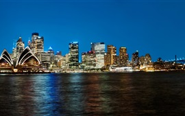Preview wallpaper Australia, Sydney, skyscrapers, night, lights, coast