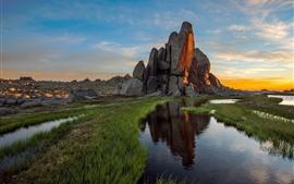 Australia, rocks, stones, puddle, grass, sunset
