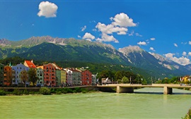 Áustria, Innsbruck, ponte, montanhas, rio, casas, edifícios