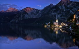 Preview wallpaper Austria, mountains, lake, evening, Hallstatt