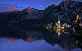 Австрия, горы, озеро, вечер, Hallstatt