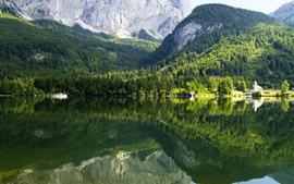 Austria, mountains, trees, lake, water reflection