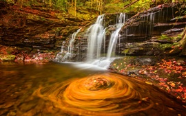 Autumn, forest, waterfall, water