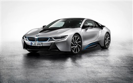 Preview wallpaper BMW i8 silver car at parking