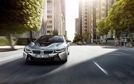 壁紙のプレビュー BMW i8シルバーカーフロントビュー
