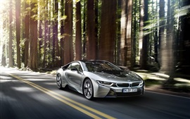 Preview wallpaper BMW i8 silver car speed